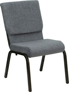 Lot Of 50 18 5 W Gray Fabric Stacking Church Chair With Gold Vein Frame