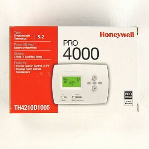 Honeywell Pro 4000 Programmable Thermostat Th4210d1005 Heat Cool 5 2 Heatpump
