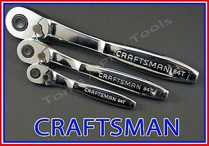Craftsman Hand Tools 3pc 1 4 3 8 1 2 Fine Tooth Thin Profile Ratchet Wrench Set