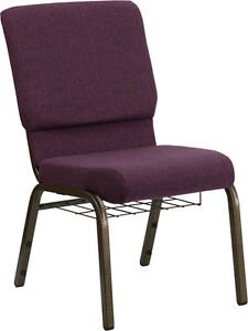 Lot Of 50 18 5 W Plum Fabric Church Chair Communion Cup Book Rack