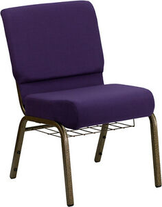 Lot Of 50 21 Wide Purple Fabric Church Chair Communion Cup Book Rack
