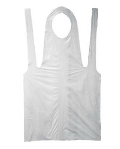 28 inch By 46 inch 2 Mil Disposable White Polypropylene Apron 4 Bags 400 Pcs