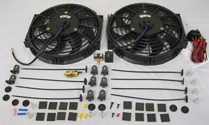 Dual 10 Electric Heavy Duty Radiator Cooling Fans Thermostat