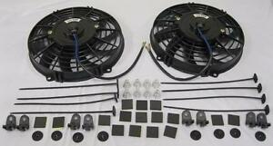 Dual 10 High Performance S blade Electric Radiator Cooling Fans W Mounting Kit