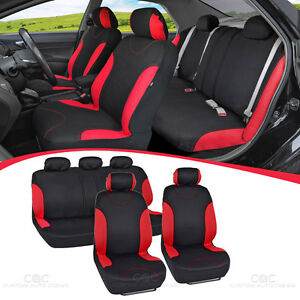 Black And Red Cloth Car Seat Covers Split Option Bench Full Set
