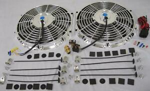 Dual 12 Universal Chrome Electric Radiator Cooling Fans Thermostat Install Kit