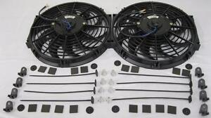 Dual 12 Curved S Blade Universal Electric Radiator Cooling Fans W Mounting Kit
