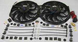 Dual 12 Inch Curved S blade Electric Radiator Cooling Fans Thermostat