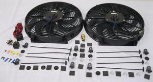 Dual 14 Hd Universal Electric Radiator Cooling Fans Thermostat