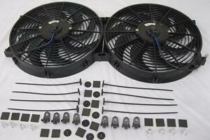 Dual 14 Universal Curved S blade Electric Radiator Cooling Fans W Mounting Kit