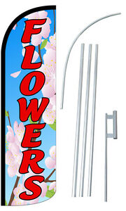 Flowers Windless Flag Super Swooper Feather Sign Blade Banner 30 Wider