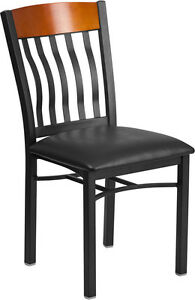 Eclipse Series Vertical Back Black Metal And Cherry Wood Restaurant Chair