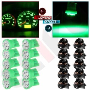 10 Pack Green Pc194 T10 Instrument Led 6 Smd Cluster Light Bulbs Dash Twist Lock