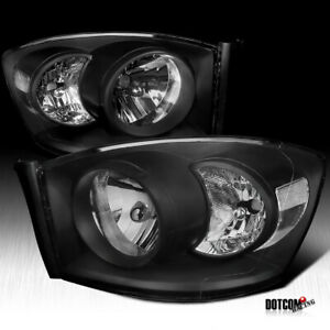 2006 2008 Dodge Ram 1500 2500 3500 Pickup Black Diamond Headlights Head Lamps