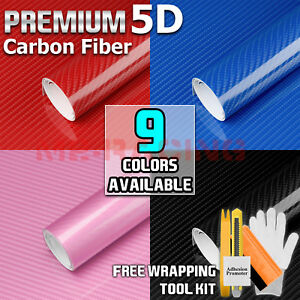 9 Color Premium 5d High Gloss Carbon Fiber Vinyl Wrap Sticker Decal Bubble Free