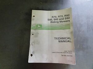 John Deere R70 R72 R92 S80 S82 And S92 Riding Mowers Technical Manual Tm1290