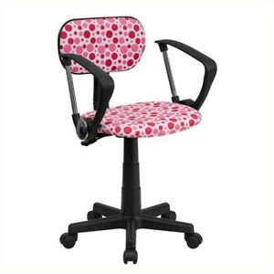 Flash Furniture Pink Dot Printed Computer Office Chair With Arms In White