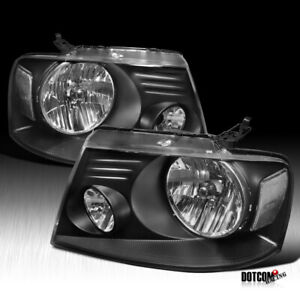 For 2004 2008 Ford F150 F 150 Pickup Headlights Head Lamps Black Left Right