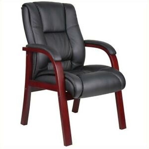 Boss Office Products Mid Back Wooded Guest Chair Transitional