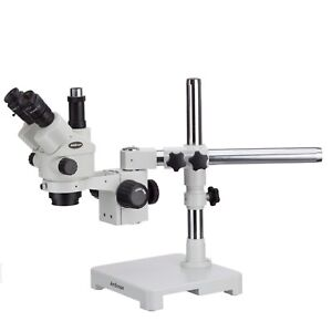 Amscope 7x 45x Simul focal Zoom Trinocular Stereo Microscope Locking Single Boom