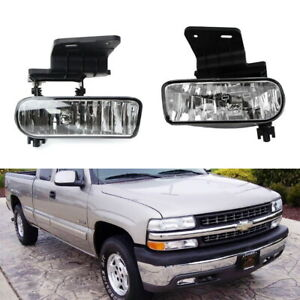 Complete Clear Lens Fog Lights W bracket For Chevy 1500 2500 3500 Suburban Tahoe