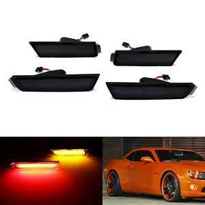 Smoked Lens Front Amber Rear Red Led Side Marker Lights For 2010 15 Chevy Camaro