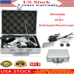 Dental Surgical Binocular Loupes 3 5x 420mm Optical Glass Loupe Led Head Light