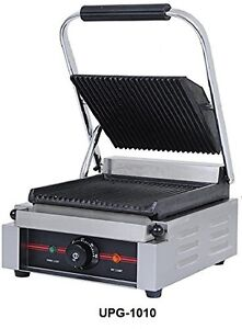 Uniworld Stainless Steel Commercial Electric Panini Grill W Non stick Surface