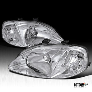 Fit 1999 2000 Honda Civic 2 3 4dr Assembly Clear Headlights Head Lamps Pair