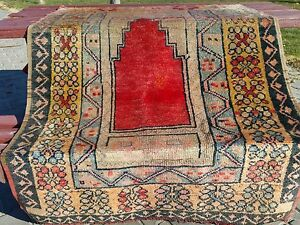 Authentic 1900 1920s Antique 3 7 X5 Turkish Tribal Natural Dyes Prayer Rug