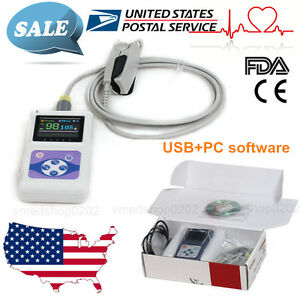 Usa Fingertip Pulse Oximeter Hr Monitor Adult Spo2 Probe data Record To Pc Fda