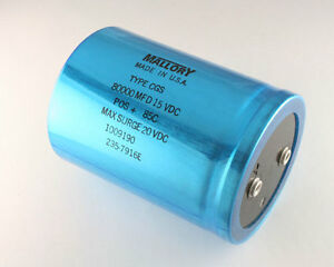 Mallory 80000uf 15v Large Can Electrolytic Capacitor Cgs803u015x4c