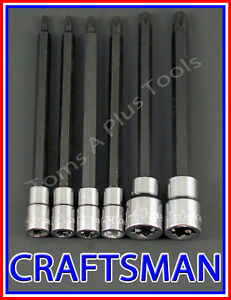 Craftsman Hand Tools 6pc 1 4 3 8 Long Torx Star Bit Ratchet Wrench Socket Set