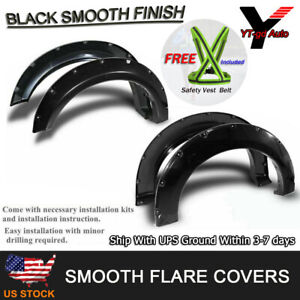 Fits 2007 2013 Toyota Tundra Pocket Riveted Black Smooth Bolt On Fender Flares
