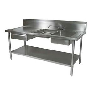 John Boos Ept6r10 dl2b 96r Work Table With 2 Right Prep Sinks