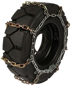 12x16 5 Skid Steer Tire Chains 8mm Square Link Loader Bobcat Snow Traction