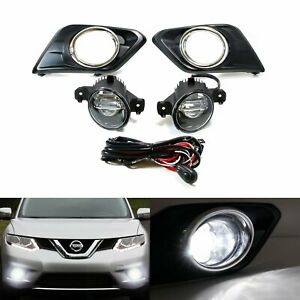 15W CREE LED Projector Fog Lights wBezel Covers Wiring For 14-up Nissan Rogue $136.49