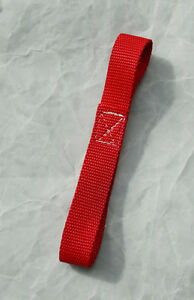 Winch Hook Pull Strap 8 Inch Red Two Loop Heavy Duty