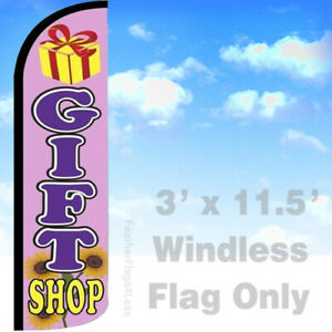 Gift Shop Windless Swooper Flag Feather Banner Sign 3x11 5 Pz129