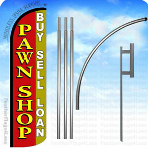 Pawn Shop Buy Sell Loan Windless Swooper Flag Kit Feather Banner Sign Rq