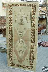 Rare 1900 1939s 3 X6 3 Ivory Gold Colors Wool Natural Old Dyes Pile Rug Turkey