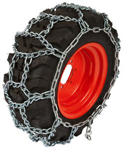 8 3x16 Small Tractor H pattern Tire Chains 7mm Link Snow Blower Traction