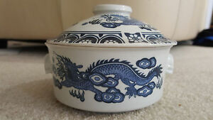 Blue White Porcelain Chinese Dragon Lidded Bowl Dish Jar Great For Soups Food