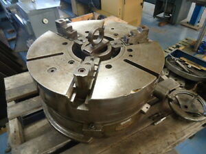 24 Troyke Rotary Table With 3 Jaw Chuck Mounted
