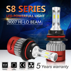 2x 9007 Hb5 200w 20000lm Cree Cob Led Headlight Kit Hi Lo Power Bulbs 6500k Hid