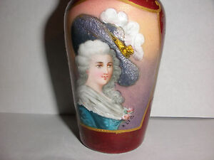 Antique Beautiful Enamel Victorian Woman Portrait Cabinet Bronze Or Brass Vase
