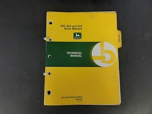 John Deere 520 522 And 524 Snow Blowers Technical Manual Tm 1322