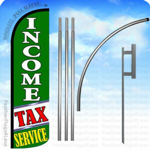 Income Tax Service Windless Swooper Flag 15 Kit Feather Banner Sign Gq