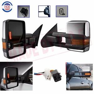 New Towing Mirrors Power Heat Clearance Signal Chrome Side For 99 02 Chevy Gmc