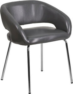 Gray Leather Stylish Guest Reception Area Side Chair